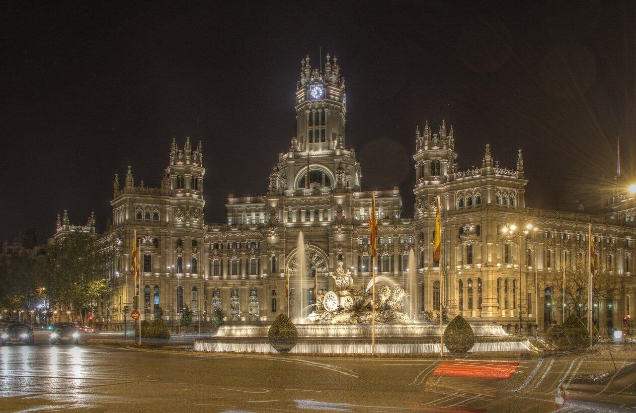 Ночной Мадрид. Дворец связи (Palacio de Comunicaciones). hdr