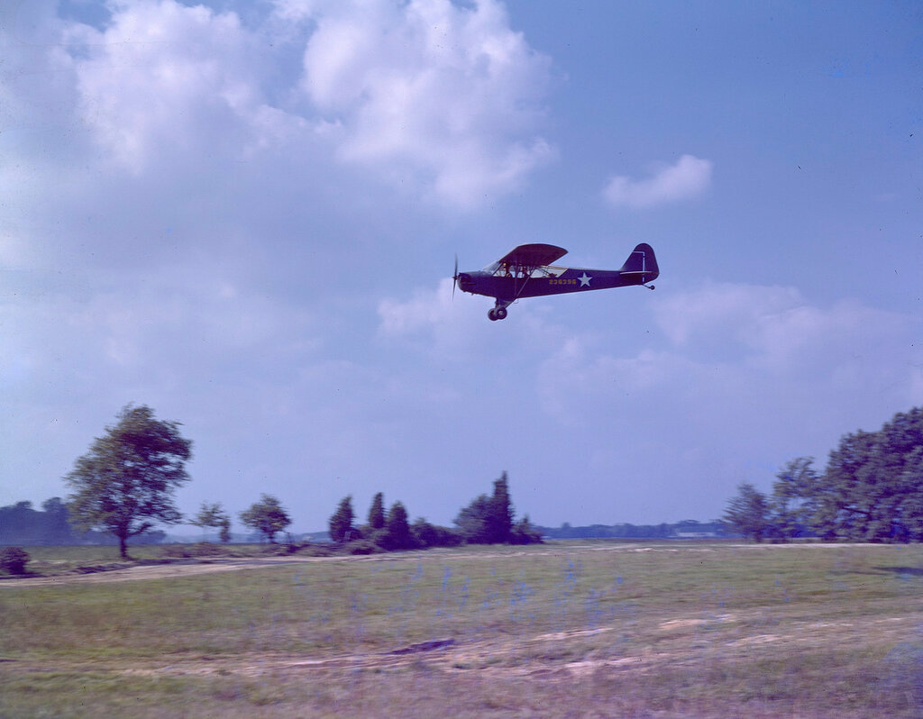 Left side view of U.S. Army Air Forces Piper L-4A Grasshopper (s/n 42-36396) coming in for a landing, ca. 1942.