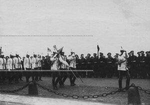Парад полка в день 200-летия битвы при Лесной на Адмиралтейской набережной.