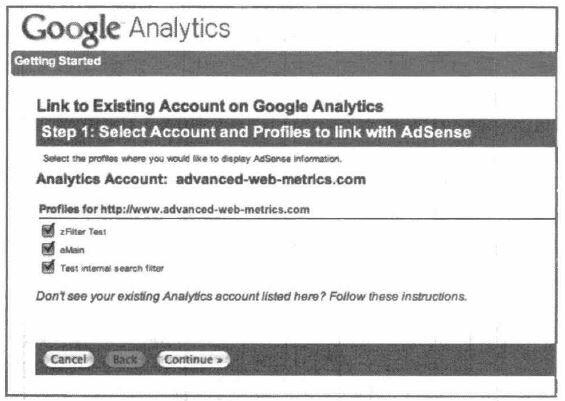 Рис. 6.15. Выбор профилей Google Analytics для приема данных AdSense