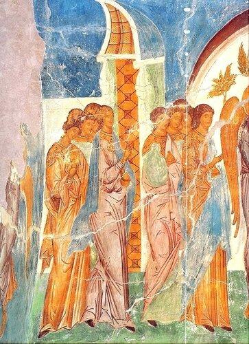 Притча о десяти девах. Фреска Дионисия в соборе Рождества Пресвятой Богородицы в Ферапонтовом монастыре. 1502 год.