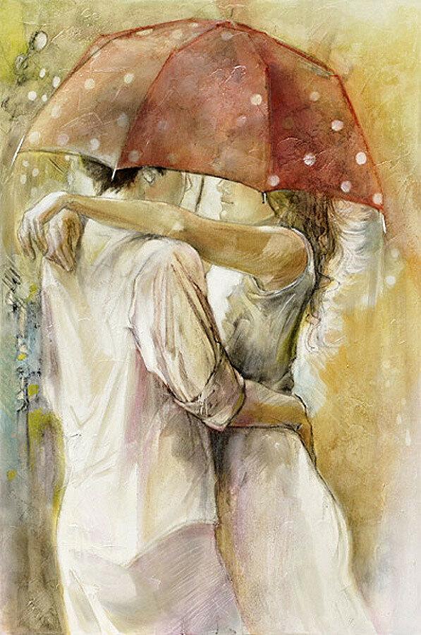 Картинки про любовь акварель