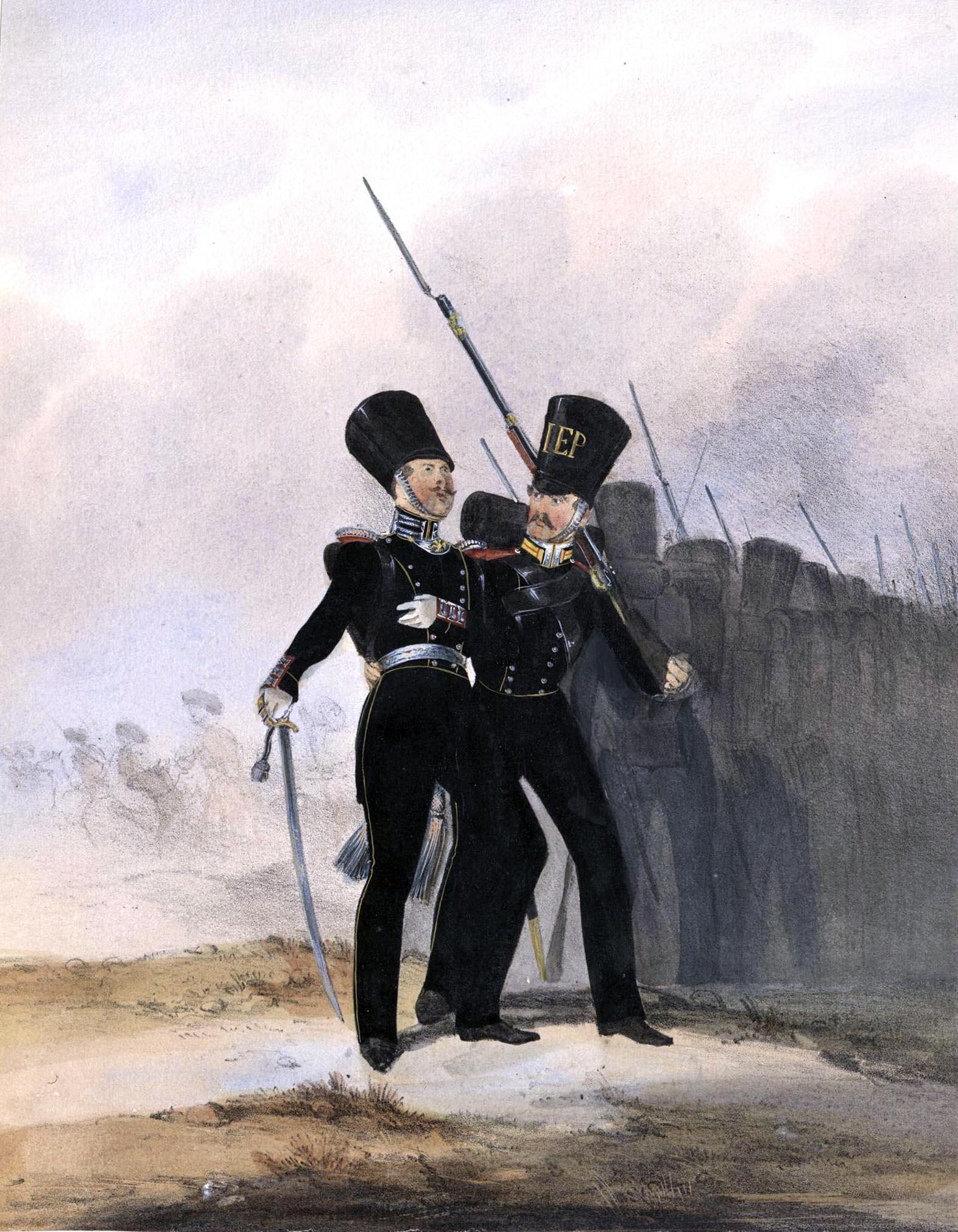 024. Kaiserthum Russland Garde-Regiment Wolynien: Offizier und Unteroffizier im kleinen Anzug / Российская империя