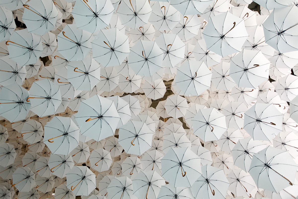 A Canopy of 1,100 Umbrellas Above the 2015 Habitare Design Fair in Finland
