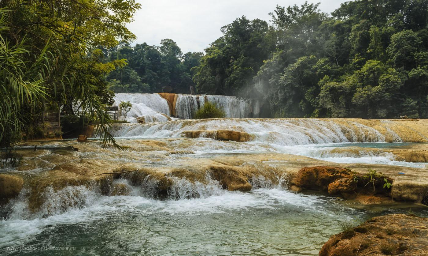 Фото 12. Отзыв об экскурсии к водопаду Агуа Асуль (El área de protección de flora y fauna Cascadas de Agua Azul) во время отдыха в Мексике. 1/200, 13, 18, 100.