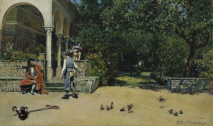 1868_Павильон Карла V в садах Алькасара в Севильи (El Pabellon de Carlos V en los jardines del Alcazar de Sevilla)_10 х 16.5_д.,м._Мадрид, музей Прадо.jpg