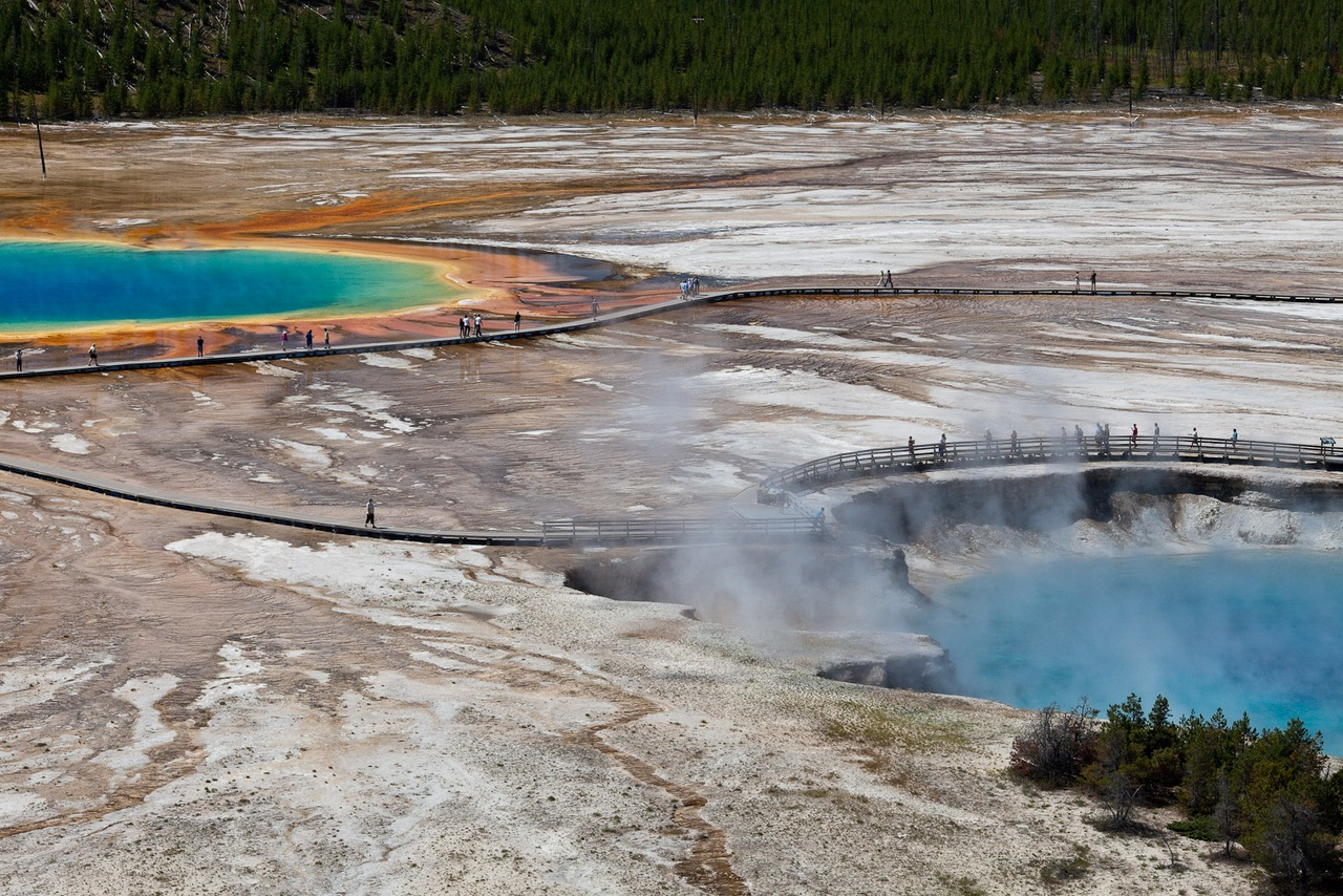Grand Prismatic Pool and Excelsior Geyser Crater