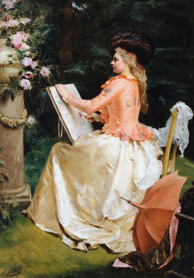 <The Artist in the Garden> by Gustave Jean Jacquet