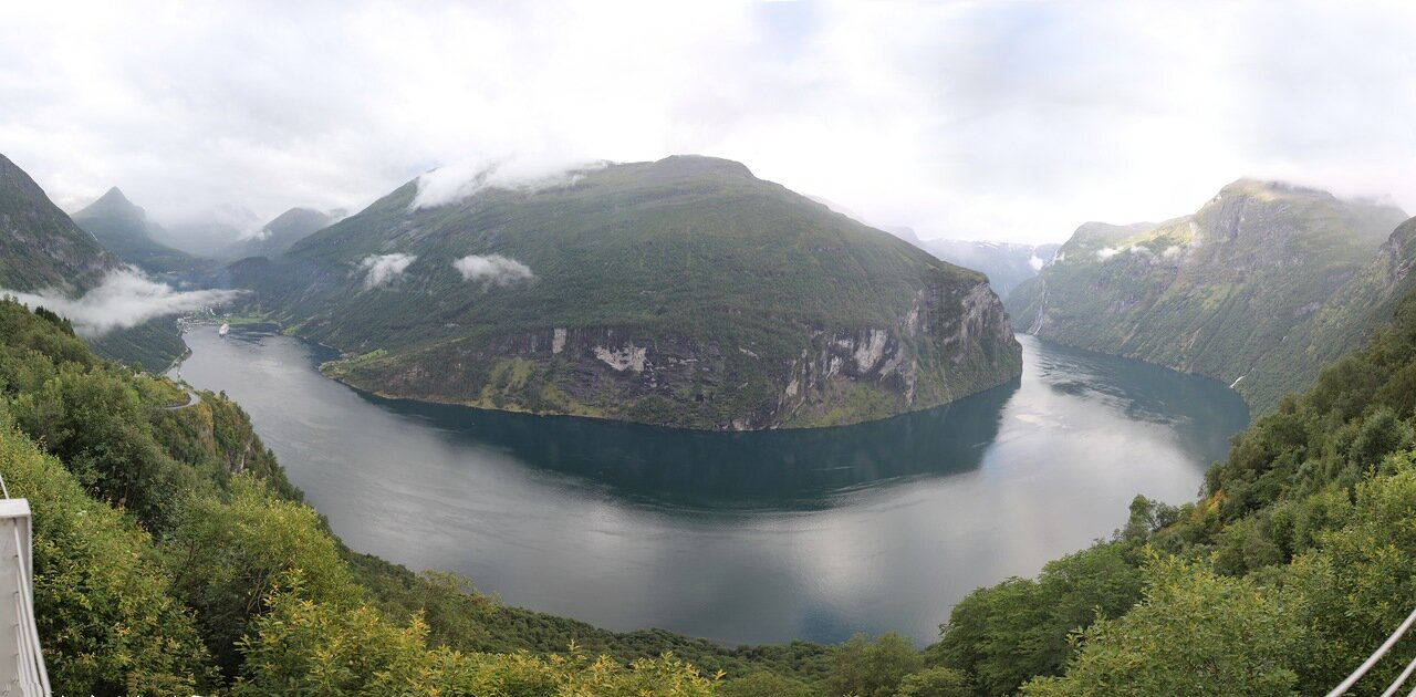 Geiranger fjord. The view from the observation deck 'Eagle's Wing' (Ørnesvingen), panorama