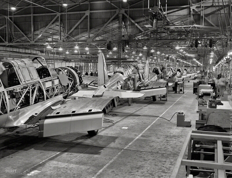 1942. Final assembly at Vultee's Downey, California, plant of the BT-13A 'Valiant' basic trainer