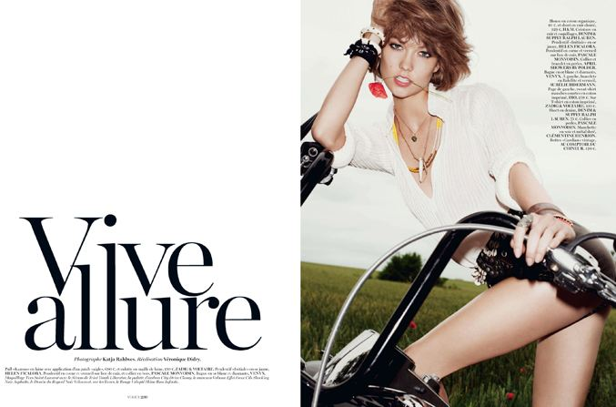 Девушка и мотоциклы - Карли Клосс / Karlie Kloss by Katja Rahlwes in Vogue Paris october 2013