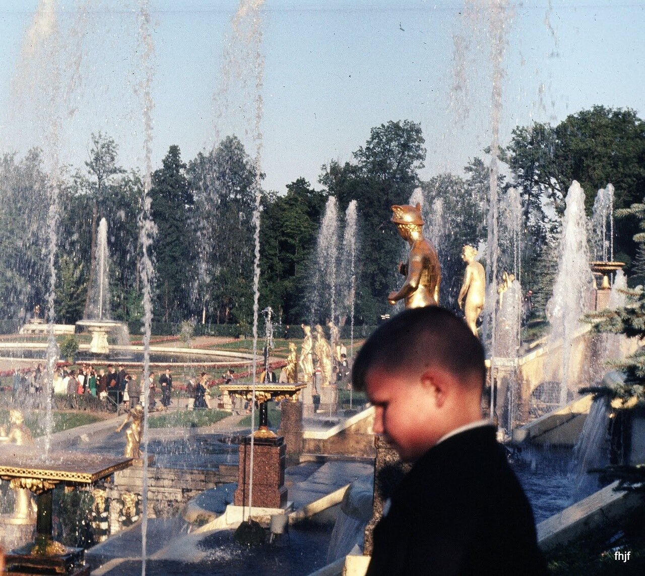 side view of fountains