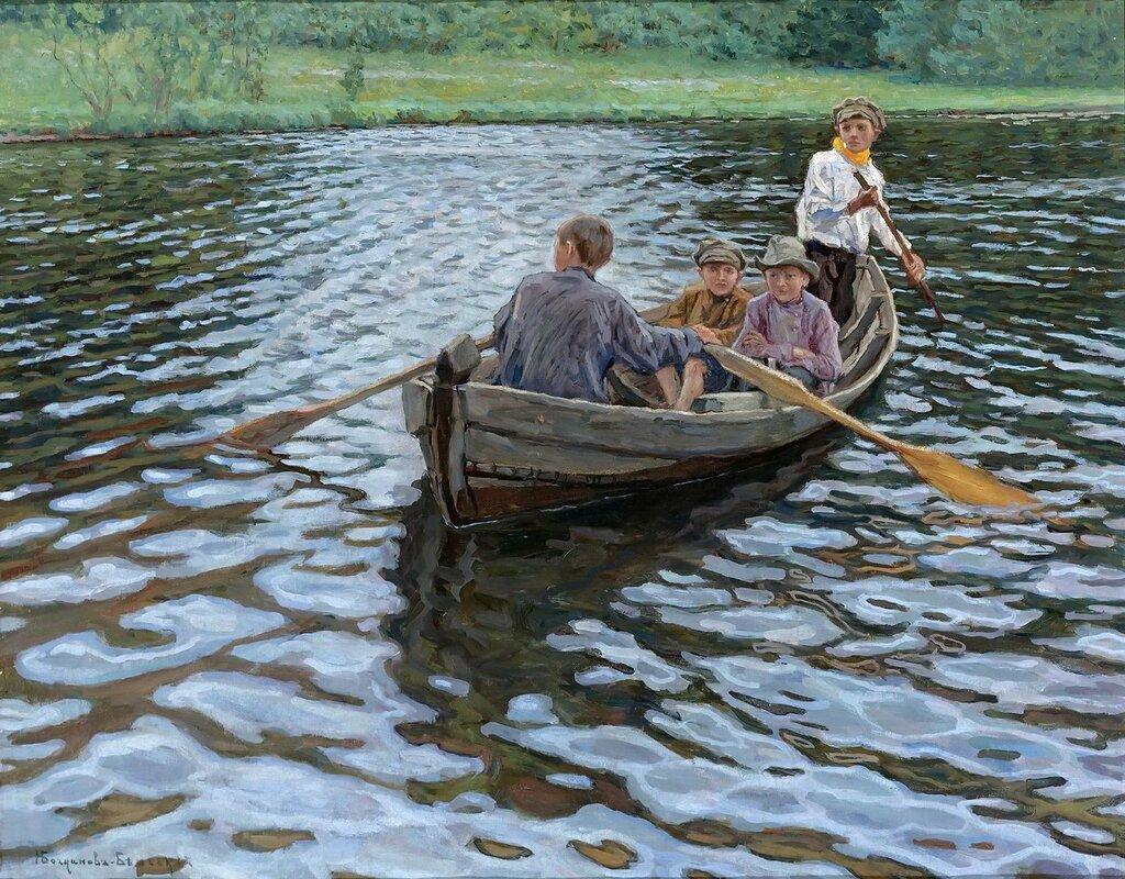Богданов-Бельский: На озере Частная коллекция70.2х88.3