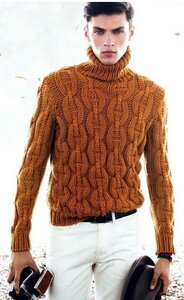 Цепная реакция - мужской свитер спицами от Hermes