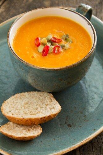 Vegetables (pumpkin, carrot) cream soup.