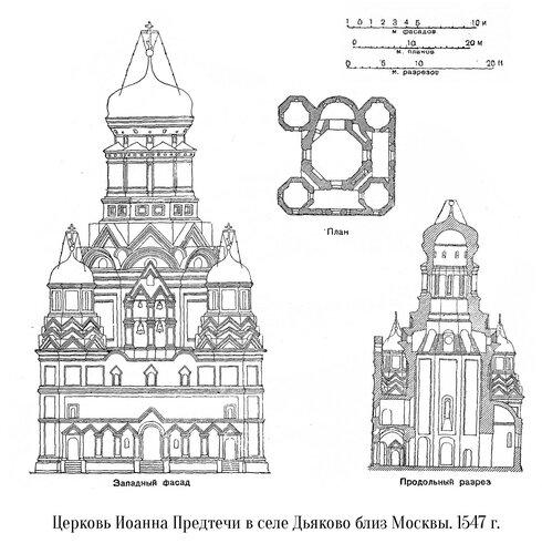Церковь Усекновения Главы Иоанна Предтечи в Дьякове, чертежи