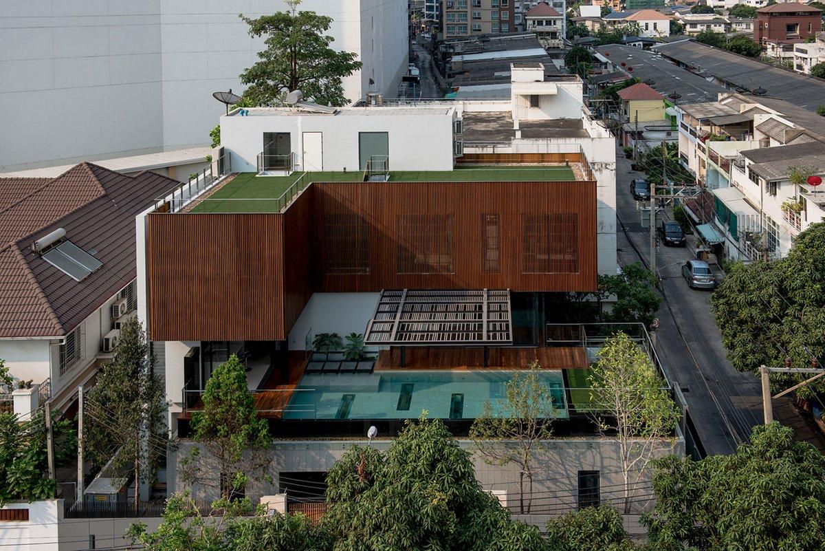 Stu/D/O Architects, особняк молодой пары фото, дома миллионеров, особняк в Таиланде, бассейн на крыше частного дома, терраса на крыше дома