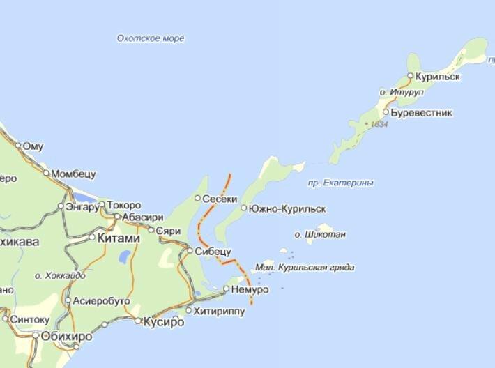 Курильские острова, карта