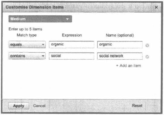 Рис. 5.8. Пример измененного измерения для отчета визуализации потока
