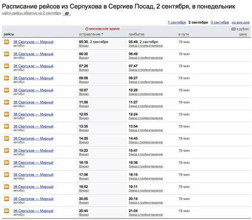 Серпухова в Сергиев Посад