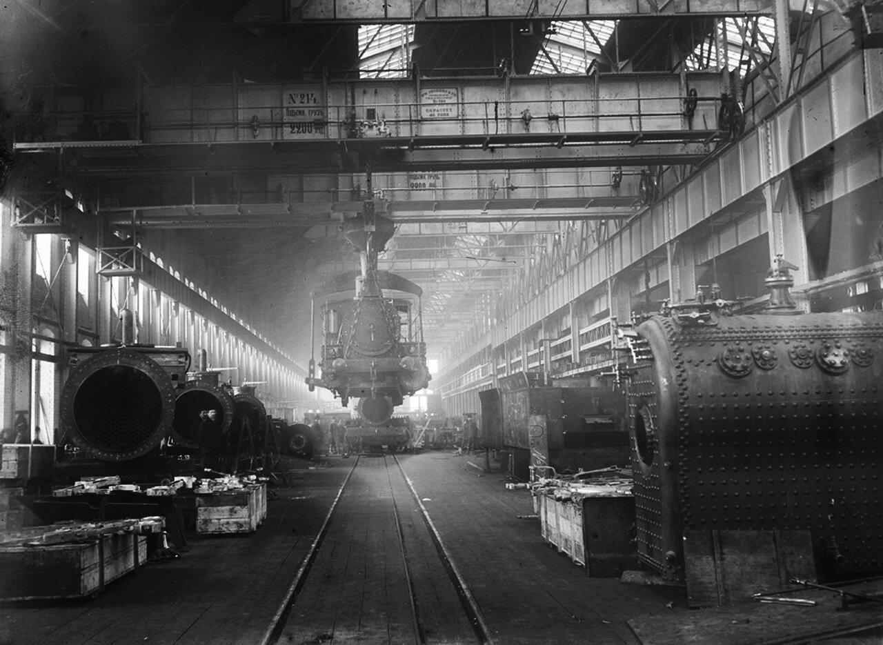 1906. АО «Сормово».  Внутренний вид паровозосборочного цеха