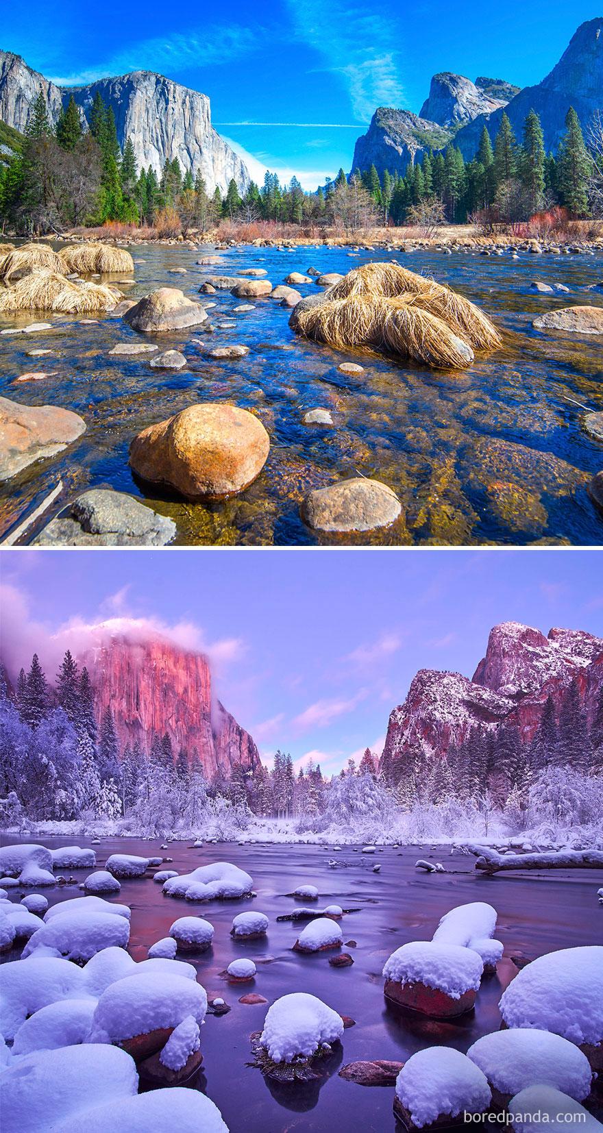 Волшебные снимки живописных мест до и во время зимы