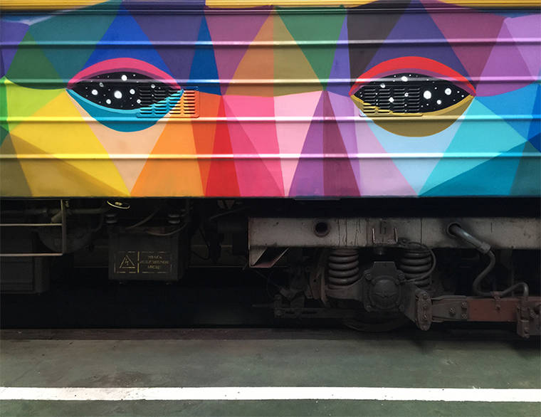 Street Art - When Okuda San Miguel is painting an entire train with colorful shapes