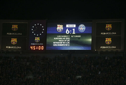 General view of the scoreboard at the end of the match