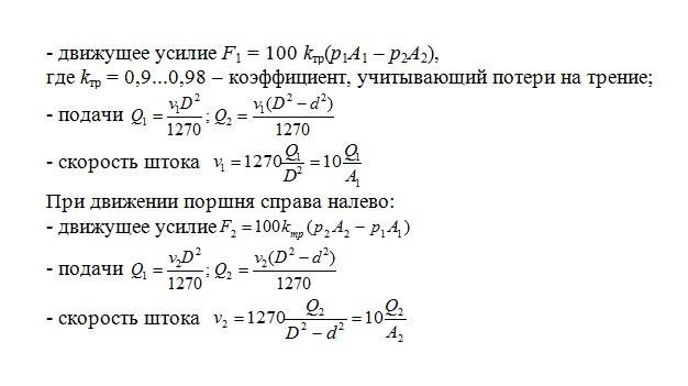 формулы расчета гидроцилиндра