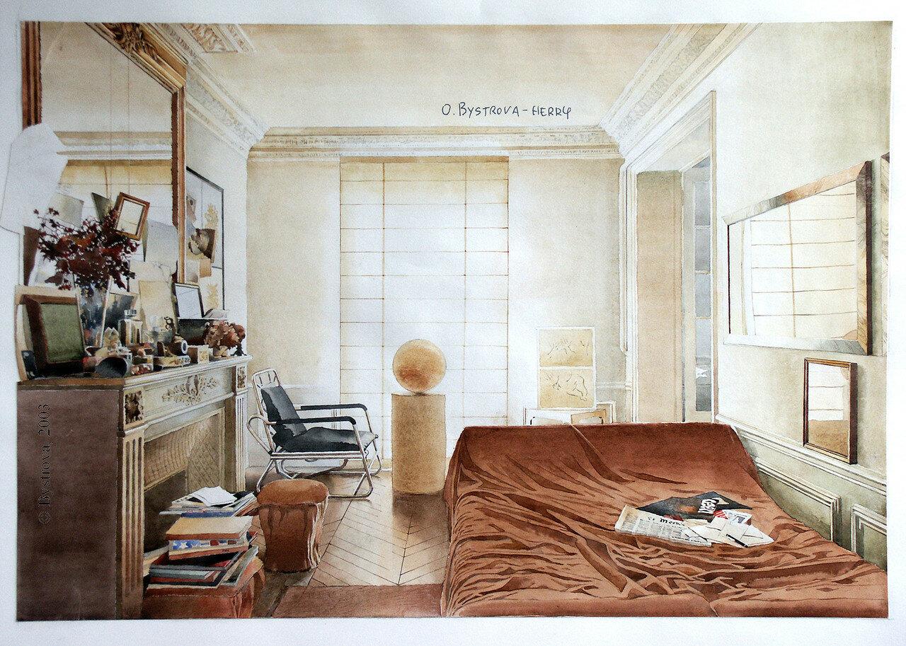 La chambre avec des journeaux