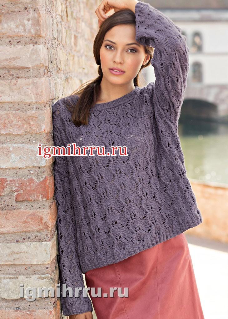 Пуловер свободного прямоугольного покроя, с ажурным узором. Вязание спицами