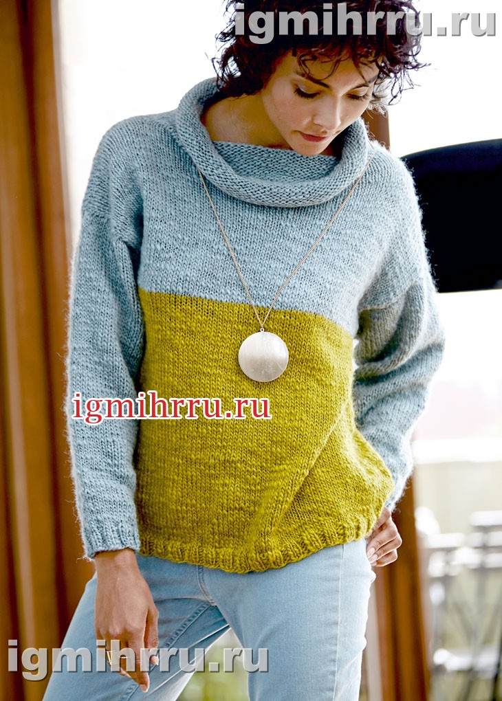 Бесшовный шерстяной свитер с большим воротником. Вязание спицами