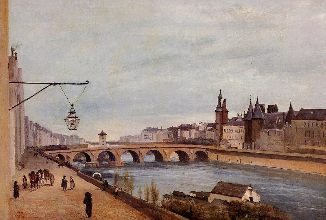 Jean-Baptiste-Camille Corot 1830-е The Pont-au--Change and the Palais de Justice.jpg