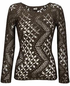 Шоколадные зиг-заги. Ажурный пуловер крючком.