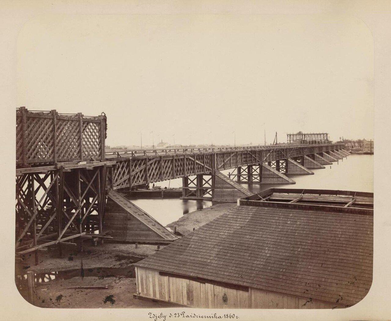 Построенный временный деревянный мост 1860 г.