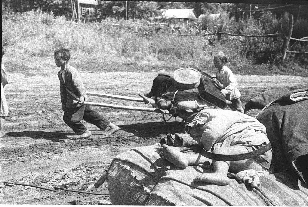 «Обездоленные деревни Ягодная». Советские дети-беженцы из деревни Ягодная Орловской области. 22 июля 1943 г.