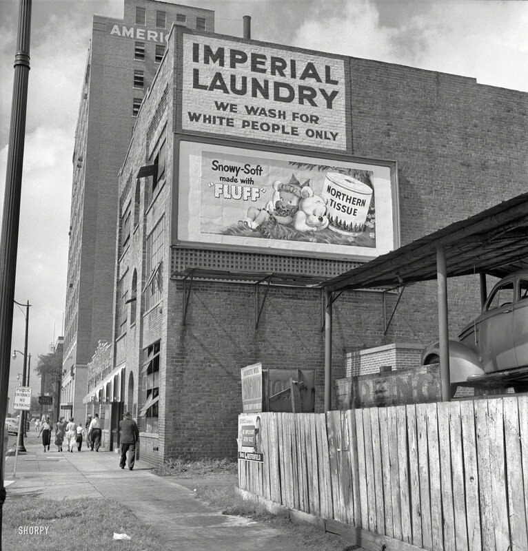 1951. Segregation in the South. Which extended, evidently, even to pillowcases