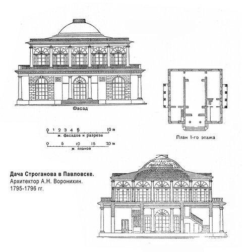 Дача Строганова в Павловске, чертежи