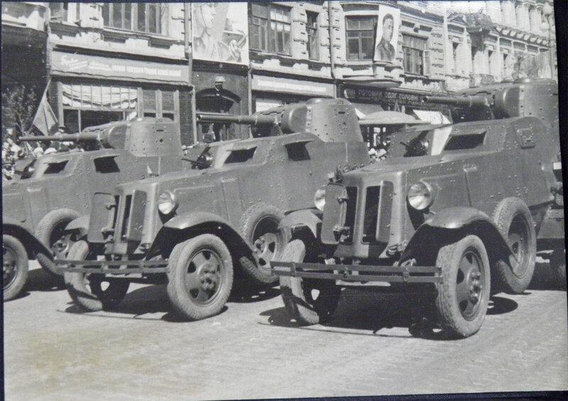 Бронеавтомобили БА-10 на военном параде 1 мая 1939 года.