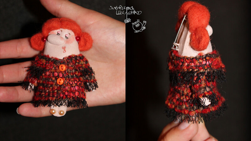 кукла брошка