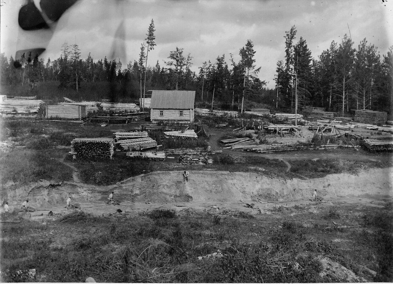 Строительство плотины и строительство зданий на другой стороне пруда.