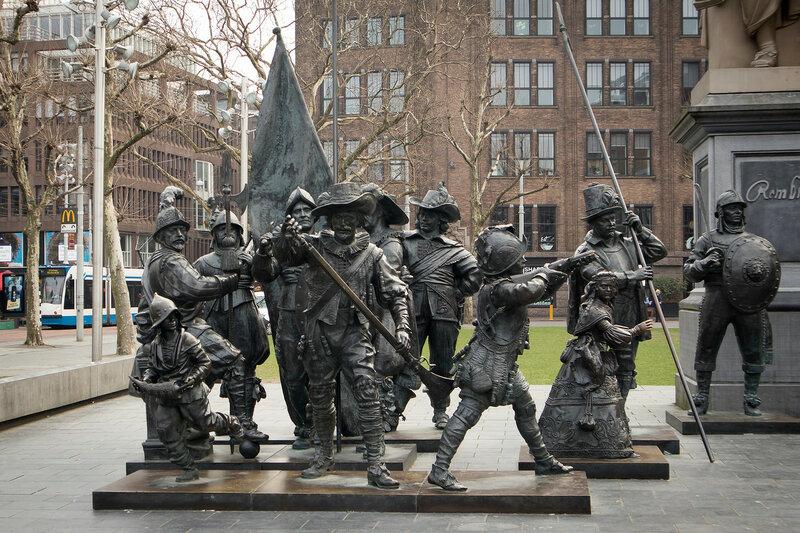 Rembrandt statue on Rembrandtplein - Rembrandt Square both named after famous painter Rembrandt van Rijn