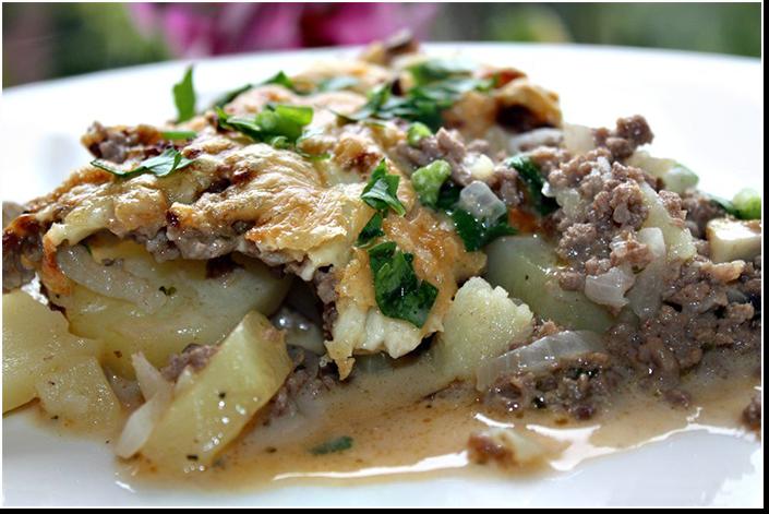 Картофельная запеканка с фаршем и грибами фото рецепт