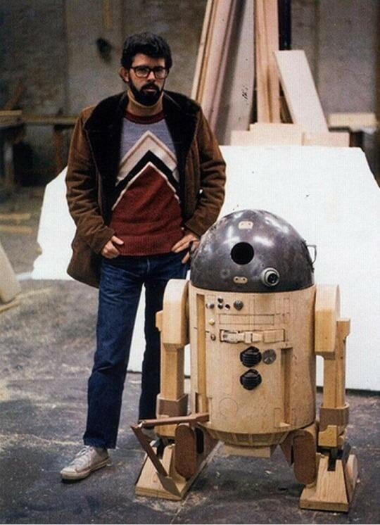 Star Wars creator George Lucas with the prototype for R2-D2, 1975..jpg