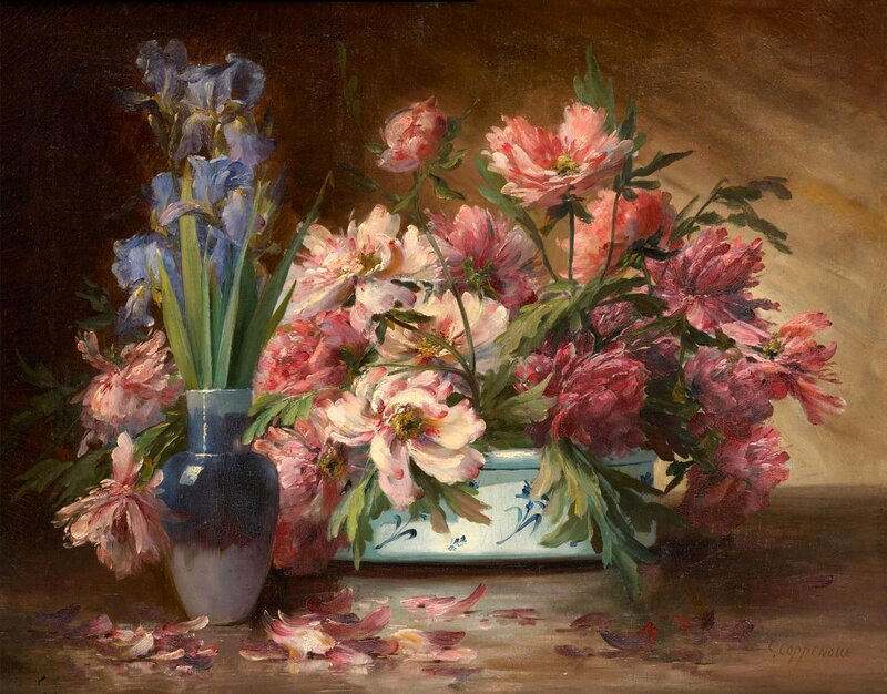 Edmond Van Coppenolle (Belgian, 1846 - 1914). Запах пионов розово-нежный...