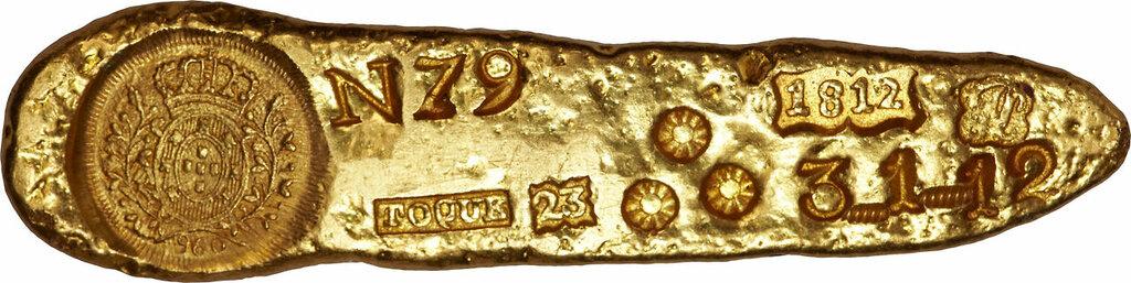 Joao VI Prince Regent gold Ingot of Sabara 1812