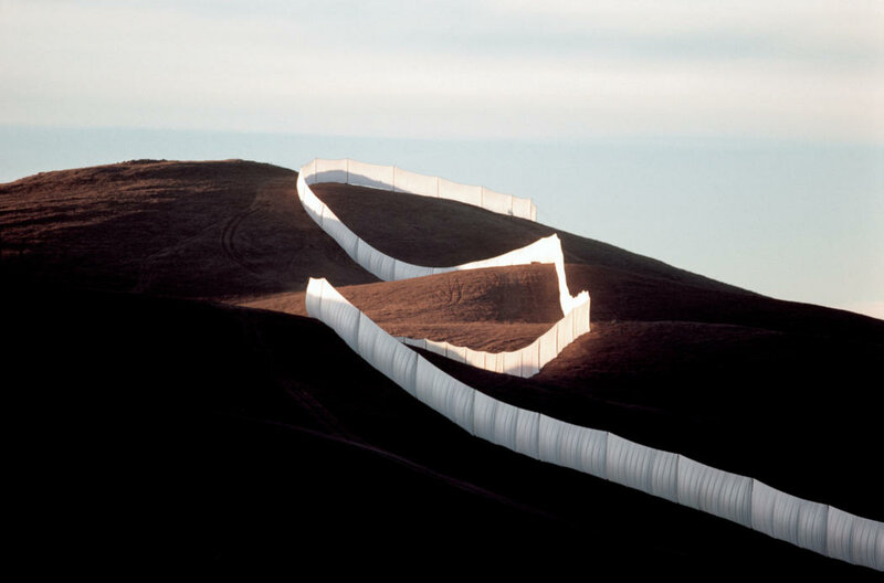 Christo and Jeanne-Claude:Running Fence, Sonoma and Marin Counties, California, 1972-76Photo: Wolfgang Volz. ©1976 Christo + Wolfgang Volz