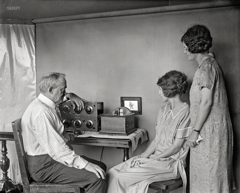 1925. Motion pictures by radio are very near, predicts C. Francis Jenkins, who has designed this small radio-vision receiving set for use in the home