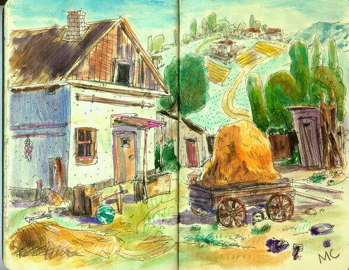 Акварель, скетч, рисунок, село,