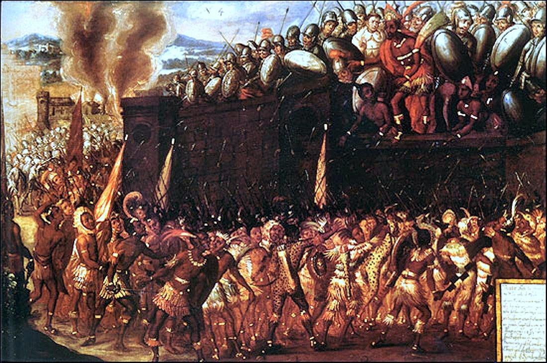 Штурм испанской резиденции и смерть Монтесумы. .jpg